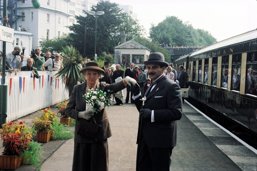 Joan Hickson as Miss Marple visiting Torquay, birthplace of Agatha Christie